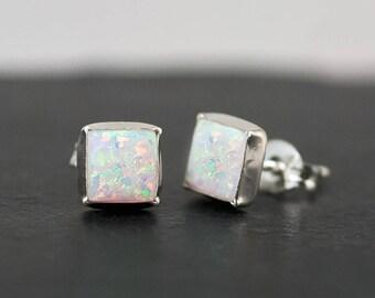 White Opal Stud Earrings - Opal Earrings - October Birthstone Studs - Gemstone Studs - Sterling Silver Studs - Tiny Dainty Earrings, EA-SQ