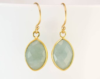 Natural Aquamarine Birthstone Earrings, Gold Framed Gemstone, March Birthday Gift, Minimalist Jewelry, Dainty Stone, Bridesmaids Jewelry