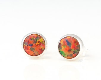 Fire Opal Studs, Simple Stone Earrings, Bridesmaid Earrings, Sterling Silver Earrings, Minimalist Gift, October Birthstone Gift