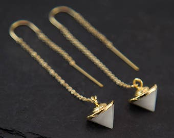 White Agate Threaders, 14k Gold Filled Earrings, Dainty Gold Earrings, Minimalist Jewelry, Long Gold Chain Earring, Simple, Bridesmaid Gift