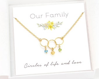 Mother's Day Gift, Personalized Family Link Necklace, Custom Tiny Birthstones, Grandma Generations Jewelry, Daughter Gift, Circles Necklace