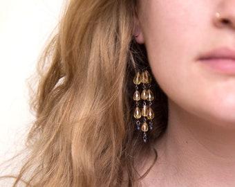 Citrine Dangle Hoop Earrings, Charm Hoops, Statement Earrings, Oxidized Silver Earrings, November Birthstone Jewelry, Birthday Gift