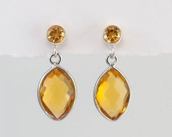 Citrine Earrings - November Birthstone Earrings - Silver Citrine Earrings - Small Drop Earrings - Post Earrings - Green Earrings