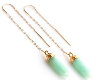 Green Amazonite Threaders, 14k Gold Filled Natural Gemstone Earrings, Spike Ear Threaders, Minimalist Jewelry, Delicate Chain Earrings, TH-B