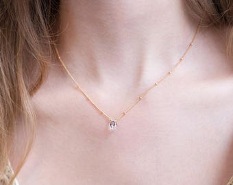 Raw Diamond Bridal Necklace, Delicate Satellite Chain, Bridesmaid Gift, Dainty Herkimer Diamond, Elegant Necklace, Dew Drop Chain