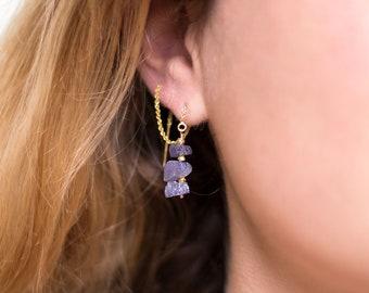 Raw Tanzanite Earrings, Drop Earrings, December Birthstone, Raw Crystal Threaders, Multi-Way Earrings, Purple Gemstone, Edgy Gift, TH-RS