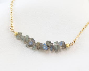 Labradorite Dainty Choker Necklace, Gemstone Bar Necklace, Layering Necklace, Minimalist Necklace, Handmade Necklace, Gift for Her, NK-RB