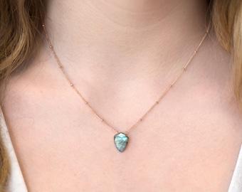 Labradorite Point Necklace, Flashy Geometric Labradorite Pendant, Boho Satellite Chain Necklace, Natural Genuine Gemstone, Arrowhead Silver
