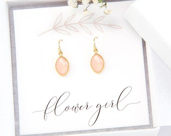 Flower Girl Gift, Dainty Pink Gemstone Earrings, Gold Framed Stone, Pink Chalcedony Earrings, Bridal Party Jewelry, Bridesmaid Gift, Simple