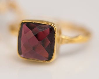 Garnet Ring, January Birthstone, Gemstone Ring, Stacking Ring, Cushion Cut Ring, Dark Red Gem, Bezel Ring, Square Gemstone