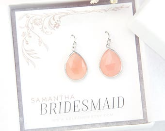 Blush Pink Sterling Silver Drop Earrings, Bridesmaid Proposal Gift Jewelry, Pink Chalcedony Dangle Earrings, Minimalist Jewelry, Bezel Set