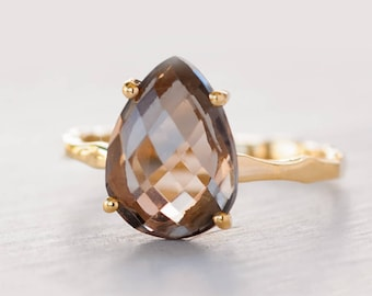 Smokey Quartz Ring Gold, Autumn Jewelry, Gemstone Ring, Stacking Ring, Solitaire Gold Ring, Back to School Gift, Prong Set Ring, RG-PP