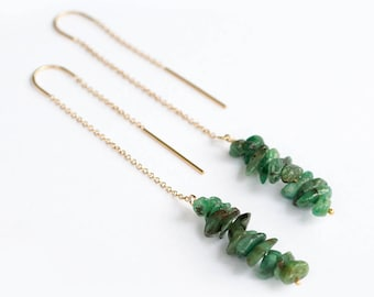 Raw Emerald Earrings - May Birthstone Earrings - Long Gold Dangle Earring - Ear Thread Earrings - Long Boho Chick Earrings