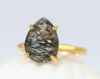 Black Tourmalated Quartz Ring Gold, Tourmalinated Quartz Ring, Solitaire Ring, Black Stone Ring, Stackable Ring, Unique Gift for Her, RG-PP