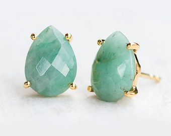 Raw Emerald Stud Earrings, May Birthstone Gift, Gemstone Post Earrings, Teardrop Studs, Prong Set Studs, Mom Gift, Green Emeralds