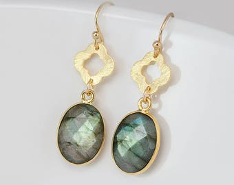Labradorite Earrings - Gold Dangle Earrings - Four Leaf Clover - Lucky Clover Earrings - Gold Framed Earrings - Gold Drop Earrings
