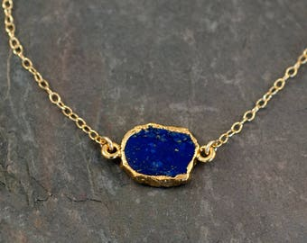 Lapis Gem Slice 14k Gold Filled Choker, Layered Necklaces, Boho Necklace, Dainty Choker Necklace, Gift for Her, Birthday Gift, NK-GS