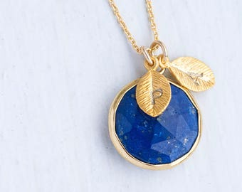 Lapis Necklace Gold, September Birthstone Necklace, Personalized Necklace, Gemstone Pendant Necklace, Custom Initial, Bridesmaid Gift, NK-RD