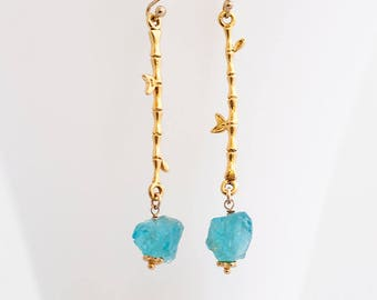 Raw Apatite Earrings, Rough Stone, Dangle Earrings, Long Drop Earrings, Bamboo Branch, Boho Chic, Raw Crystal Earrings, Woodland Jewelry