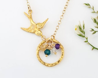 Gold Bird Nest Pendant, Personalized Birthstone Necklace for Mom, Mama Bird Necklace, Custom Charm Necklace, Gift for Wife, Birthday Gift