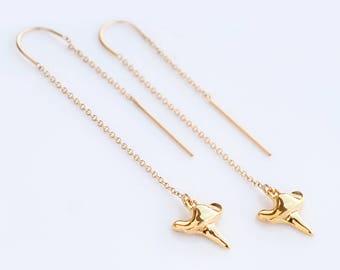 Shark Tooth Earrings - Gold Ear Thread Earrings - Ear Threader Earrings - Minimal Jewelry - Long Gold Dangle Earring - Long Thin Earrings