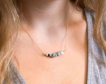Blue Larimar Necklace, Genuine Gemstone Bar Necklace, December Birthstone, Raw Stone Necklace, Bead Bar Necklace, Layering Necklace, NK-RB