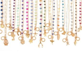 Charm Bracelet, Friendship Bracelet, Bridesmaid Bracelets, Wire wrapped Toggle Bracelet, Gemstone Bracelet, Layering Bracelet, Gift for Her