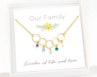 Family Generations Necklace, Custom Birthstone Interlocking Circle Necklace, Dainty Personalized Necklace, Mother's Day Gift for Grandmas
