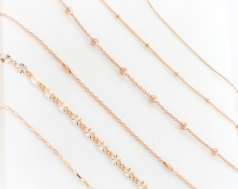 Simple Rose Gold Chain Bracelet, Minimalist Rose Gold Necklace, Delicate Chain Stacking Bracelet, Layering Piece, Everyday Rose Choker, GCC