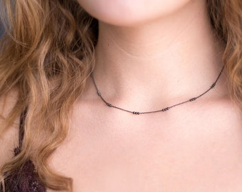 Dainty Oxidized Silver Choker, Edgy Black Silver Necklace, Minimalist Necklace, Satellite Chain, Simple Chain Choker, Girlfriend Gift, NK-TS