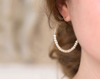 Delicate Freshwater Pearl Hoops, Modern Pearl Earrings, Beaded Pearl Earrings, Delicate Hoops, Romantic Bridal Jewelry, Bridesmaid Gifts