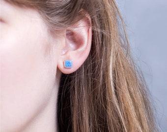 Blue Opal Square Bezel Stud Earrings, Opal Post Earrings, Simple Sterling Silver Earrings, October Birthstone, Gift for Friend, EA-PB