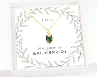 Custom Bridesmaid Proposal Gift Necklace, Birthstone and Initial, Handmade Stamped Charms, Bridal Party Jewelry Sets, Gold Filled Chains
