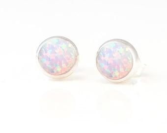 White Opal Studs, Simple Stone Earrings, Bridesmaid Earrings, Sterling Silver Earrings, Minimalist Gift, October Birthstone Gift, EA-RD
