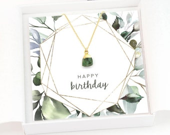 Ready to Gift Raw Stone Necklace, Birthstone Necklaces, Birthday Gift for Women, Dainty Gemstone Pendant, Green Emerald Stone Necklace Gold
