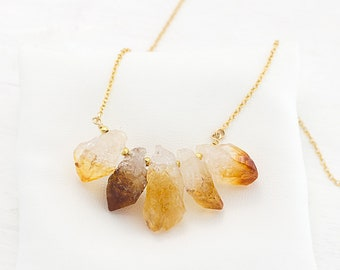 Raw Yellow Citrine Necklace, Genuine Gemstones, November Birthstone Necklace, Stone Bib Necklace, Boho Necklace Beaded, Healing Crystal Gift