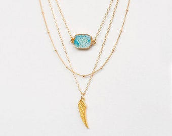 Layered Gem Slice Necklace Set, Gemstone Necklace, Angel Wing Pendant, Boho Chic Jewelry, Long Statement Necklace, Layered Set of 3