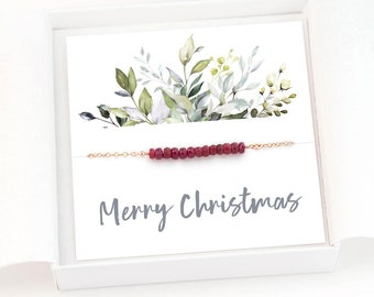 Christmas Gift for Her, Dainty Gemstone Bar Necklace, Simple Birthstone Necklace, Gift for Teen, Bead Bar Layering Necklace, Ready to Gift