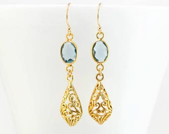 Blue Topaz Filigree Earrings, Elegant Gold Jewelry, Gift for Mom, Ornate Earrings, Special Occasion Jewelry, Holiday Gifts, Something Blue