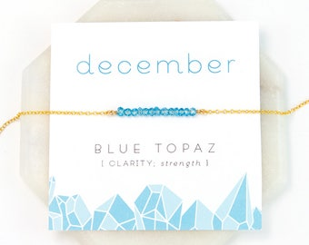 December Birthstone Necklace, Blue Topaz Necklace Gold, December Birthday Gift, Birthstone Jewelry, Gift Ideas, Healing Bar Necklace, NK-DB