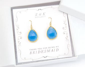 Gift for Bridesmaid, Blue Gemstone Earrings, Something Blue for Bride, Bridesmaid Proposal Card, Gold Framed Stone Drop Earrings