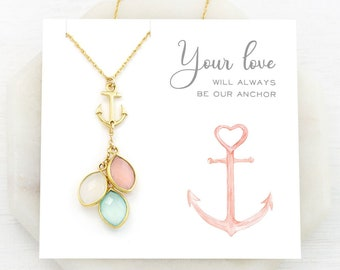 Love Necklace for Mom, Anchor Necklace, Grandma Generations Necklace, Custom Birthstone Christmas Gift, Nautical Jewelry, You Are My Anchor