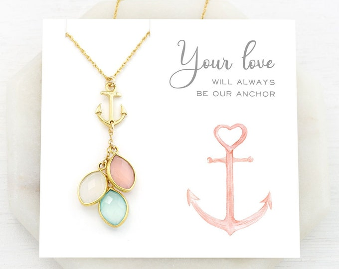 Featured listing image: Love Necklace for Mom, Anchor Necklace, Grandma Generations Necklace, Custom Birthstone Christmas Gift, Nautical Jewelry, You Are My Anchor