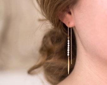 Minimalist Pearl Earrings, June Birthstone Gift, Freshwater Pearl Threader Earrings, Modern Classic Pearls, Simple Everyday Earrings, Spikes