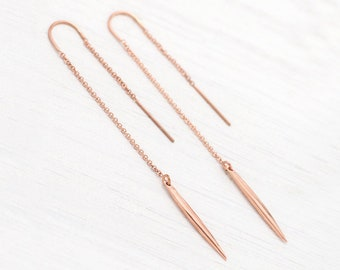 Minimalist Rose Gold Threaders, Simple Bridesmaid Earrings, Bar Drop Spike, Long Chain Thread Earrings, Dainty Lightweight Dangle, Silver