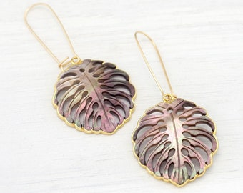 Abalone Shell Statement Earrings, Monstera Palm Leaf, Gold Filled Long Hook Earrings, Summer Jewelry Trends, Festival Resort Jewelry Boho