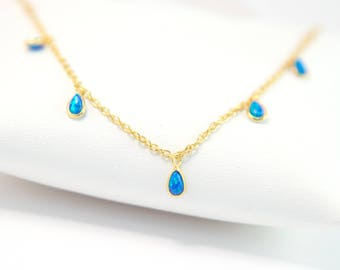 Blue Opal Necklace Gold, Opal Beaded Choker Necklace, Boho Jewelry, Layering Necklace, Tiny Opal Stones, Tear Drop Opal, Gemstone Jewelry