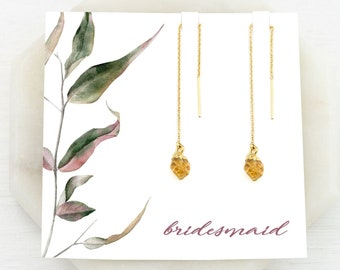 Bridesmaid Earrings, Citrine Drop Chain Earrings, Raw Crystal Threaders Gold, November Birthstone Gift, Fall Wedding Inspo, Gemstones, TH-N