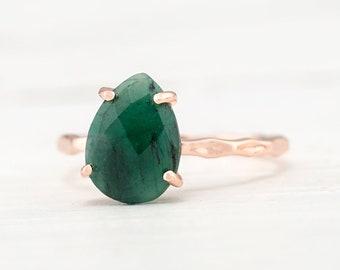 Green Raw Emerald Ring Silver, May Birthstone Ring, Gemstone Ring, Stacking Ring, Rose Gold Ring, Tear Drop Ring, Prong Set Gem Ring, RG-PP
