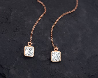 Rose Gold Geometric CZ Threaders, Modern Simple Jewelry, Everyday Earrings, Threader Earrings, Square Crystal Earrings, Long Drop Earrings